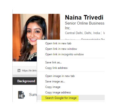 Naina Trivedi fake LinkedIn profile 2